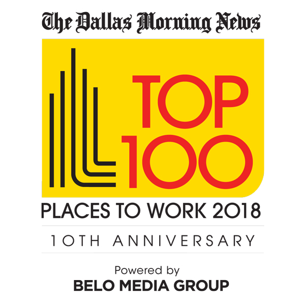 Dallas Morning News Top 100 Best Places to Work 2018 award logo