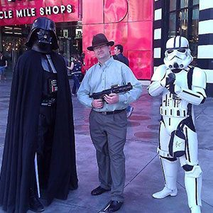 Micheal P with Darth Vader and a Storm Trooper in Las Vegas during company retreat